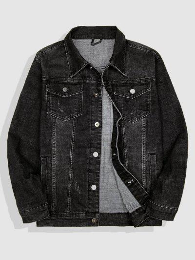 Letter Embroidery Patch Scratch Denim Jacket - Black S