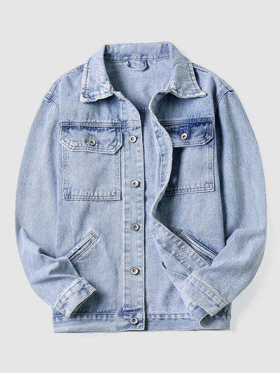 Casual Front Pocket Jean Jacket - Light Blue M