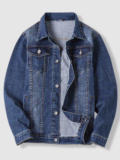 Contrast Stitching Scratch Jean Jacket - Deep Blue L