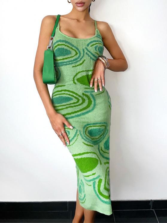 Vestido de Jersey Suelto Abstracto - Verde S