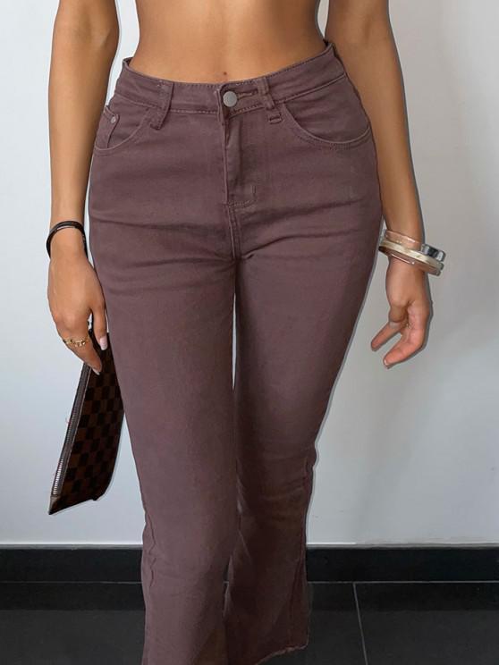 lady High Waisted Frayed Hem Flared Jeans - COFFEE M