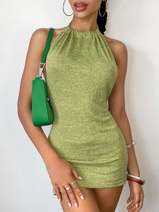Vestido Grueso Espalda Descubierta Tejido Tirantes - Verde XS