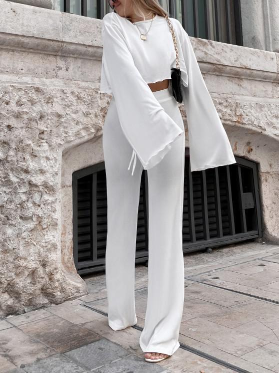 ZAFUL Set de Top Recortada de Color Sólido y Pantalones - Blanco S