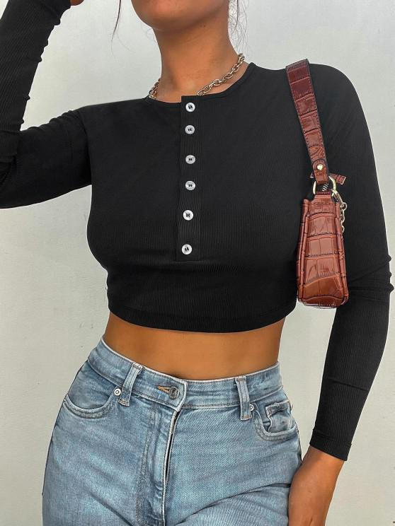 women Cropped Button Placket Ribbed Long Sleeve Top - BLACK S