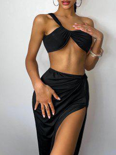 Twisted One Shoulder Split Thigh Skirt Set - Black S