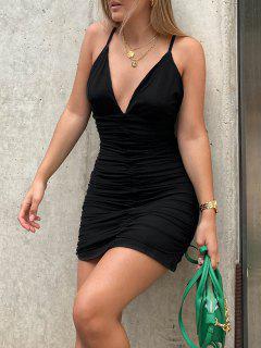 Vestido Cami Superpuesto Malla Ahuecado - Negro S