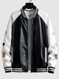 Colorblock Embroidery Faux Leather Letterman Jacket - Black L