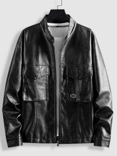 Front Pocket Tab Collar Faux Leather Jacket - Black L