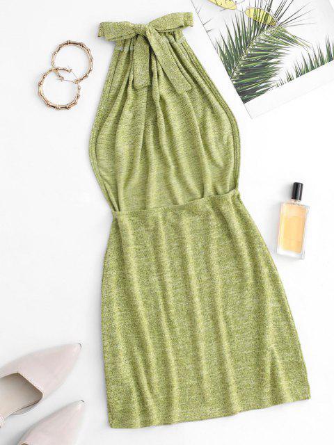 Vestido Grueso Espalda Descubierta Tejido Tirantes - Verde S Mobile