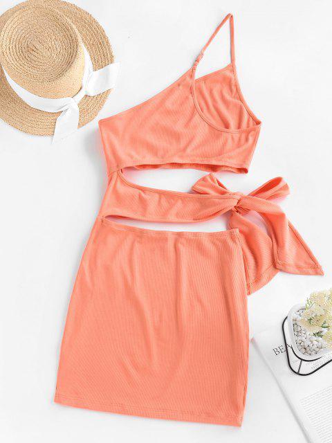 ZAFUL Geripptes Bowknot Einziger Schulter Kleid mit Ausschnitt - Orange M Mobile