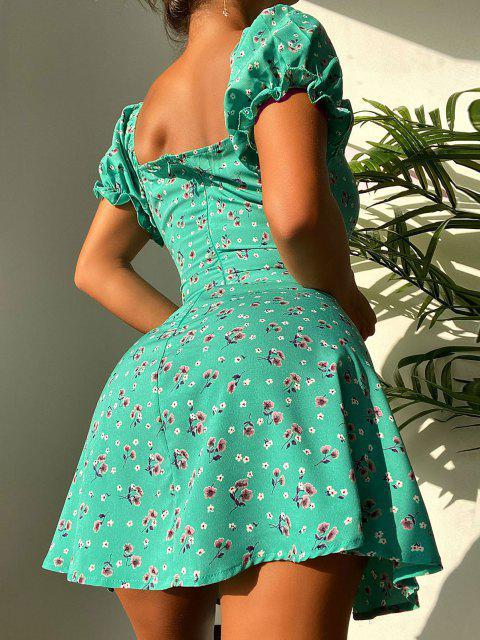 ZAFUL Ditsydruck Puff Ärmel Geschnürte Kleid - Grün S Mobile