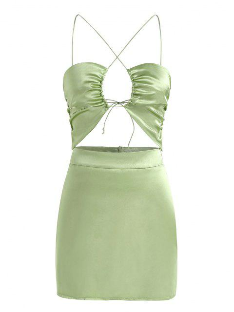 Satin Ausschnitt Geraffte Rückenfreies Kleid - Grün L Mobile
