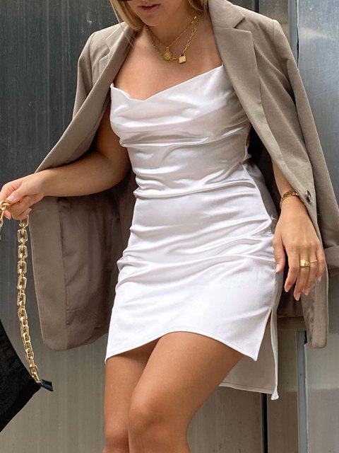 Vestido de Tirante Fino de Satén con Abertura Lateral - Blanco M Mobile