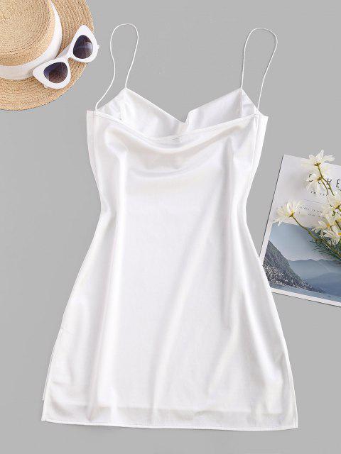 Vestido de Tirante Fino de Satén con Abertura Lateral - Blanco S Mobile