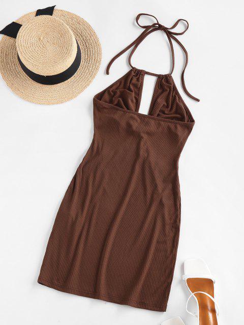 ZAFUL Bodycon Kleid mit Geripptem Ausschnitt - Tiefkaffee XL Mobile