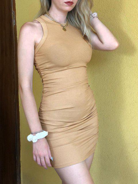 Geripptes Bodycon Mini Kleid mit Rüschen - Licht Kaffee XL Mobile