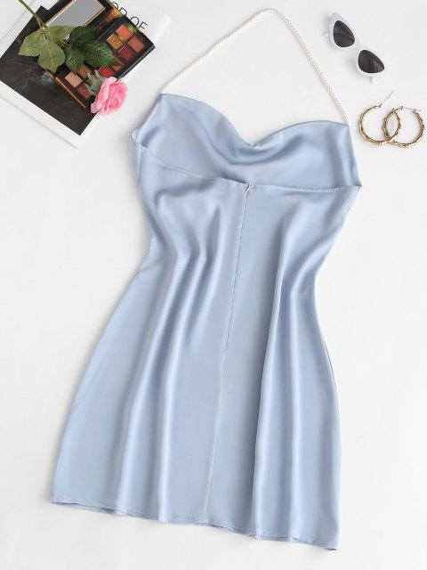 Faux Pearl Halter Mini Party Dress - أزرق فاتح M Mobile