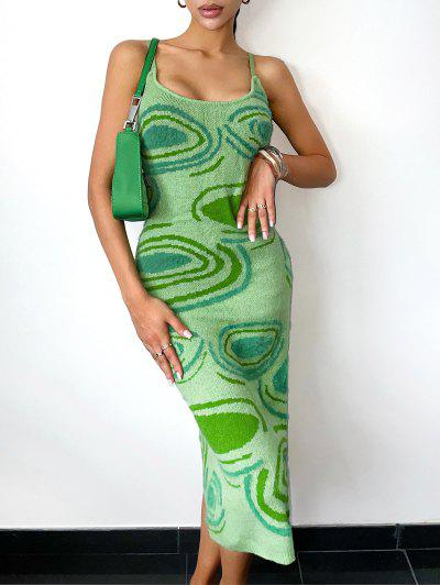 Fuzzy Cutouts Abstract Graphic Jumper Dress - Green L