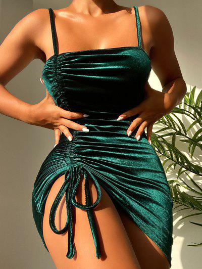 ZAFUL Cinched Velvet Bodycon Cami Dress - Deep Green M