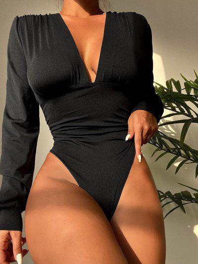Plunge Neck Bishop Sleeve Ruched Bodysuit - Black S