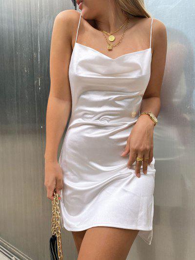Side Slit Satin A Line Cami Dress - White S
