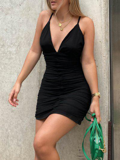 Mesh Overlay Ruched Cami Bodycon Dress - Black S