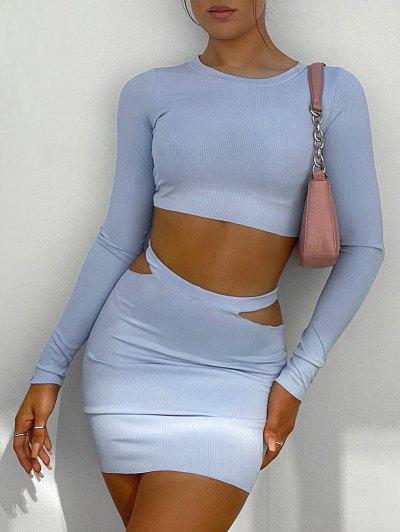Ribbed Crop Top And Cutout Mini Skirt Set - Light Blue S