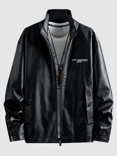 Slogan Faux Leather Jacket - Black 4xl