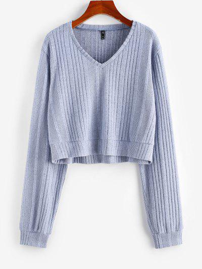 ZAFUL Drop Shoulder Textured Knit Tee - Light Blue M
