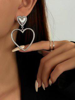 Pendientes Huecos En Forma De Corazón - Plata