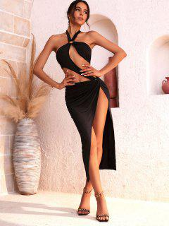 Halter O-ring Cut Out Bodysuit And Twisted Skirt Set - Black S