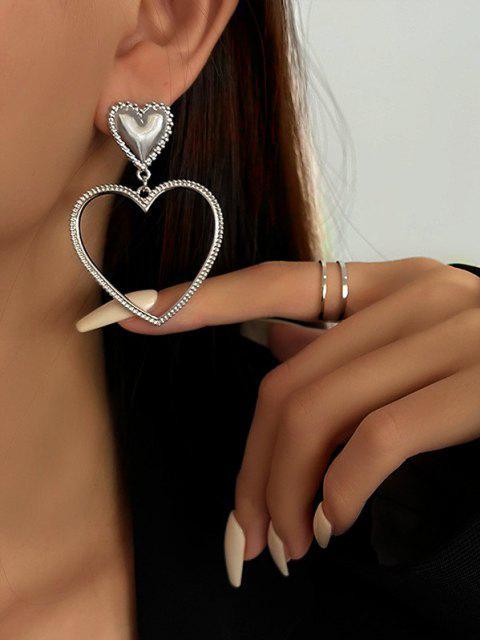 Hohl Herzförmige Tropfenohrringe - Silber  Mobile