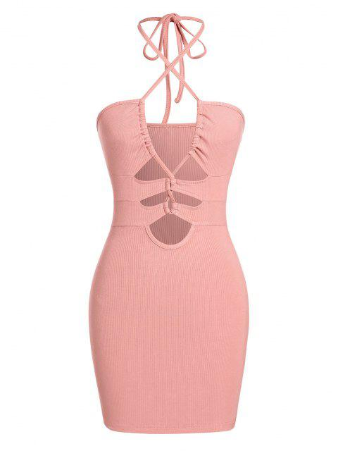 ZAFUL Bodycon Kleid mit Geripptem Ausschnitt und Schnürung - Hell-Pink S Mobile