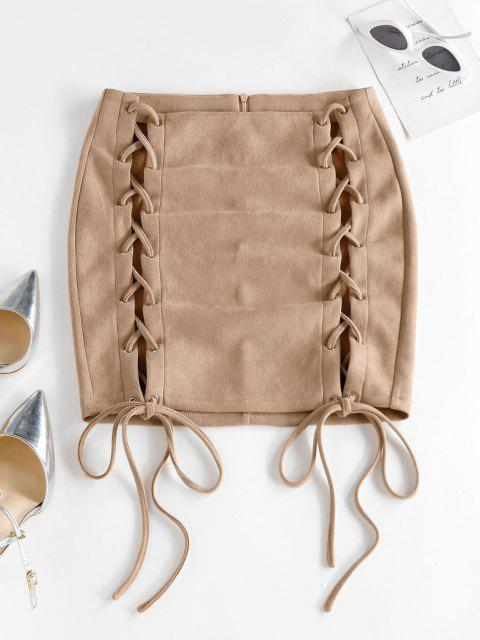 ZAFUL Mini Falda de Oveja con Encaje Frontal de Color Sólido - Amarillo claro S Mobile