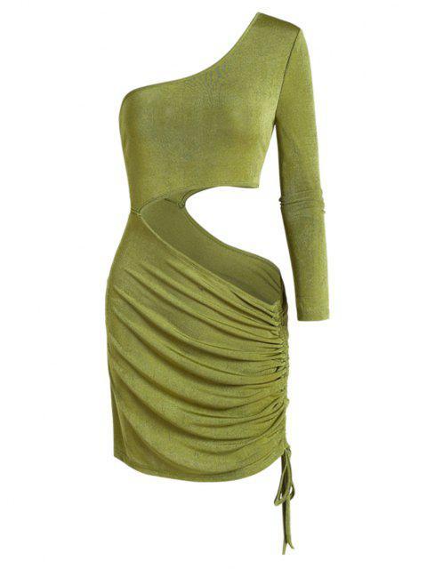 ZAFUL Einziger Schulter Ausgeschnitten Tunika T-Shirt - Grün M Mobile