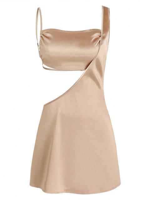 2 Stück Satin Camisole und Einziger Schulter Kleid - Licht Kaffee XS Mobile