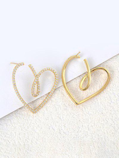 Hollow Heart Asymmetrical Earrings - Golden