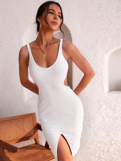ZAFUL Wide Rib Cutout Slit Bodycon Tank Dress - White S