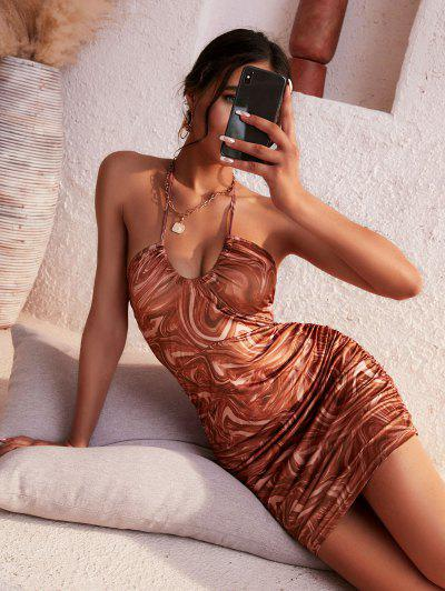 ZAFUL Halter Fluid Marble Print Ruched Dress - Deep Coffee S