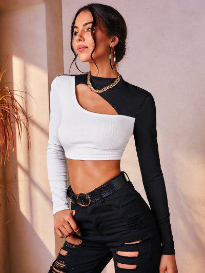 Geripptes Zweifärbiges Ausschnitt Slim Crop T-Shirt - Schwarz M