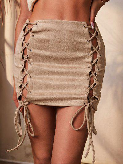 ZAFUL Lace Up Front Solid Slinky Mini Skirt - Light Yellow L