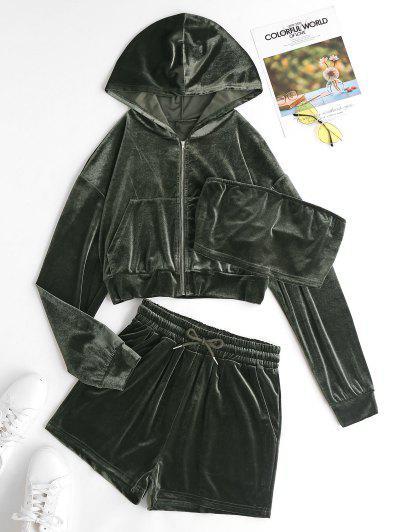 3pcs Hooded Velvet Three Piece Shorts Set - Deep Green M