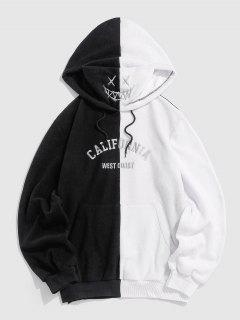 ZAFUL Cartoon Face Embroidered Letters Print Color Block Hoodie - White Xl