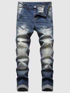 Faded Wash Stitching Patch Jeans - Blue 36