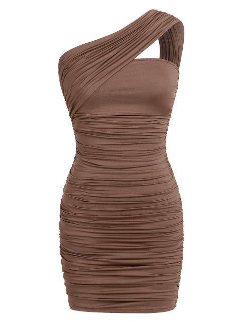 ZAFUL Bodycon Einziger Schulter Kleid mit Ausschnitt - Kaffee S Mobile