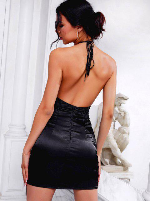 Halfter Seidiger String Skirt Skirt Skirt Skirt Set - Schwarz XS Mobile