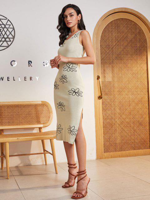 Ausschnitt Blumen Seitenschlitz Pullover Kleid - Hellgelb S Mobile