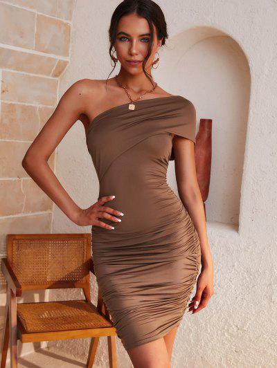ZAFUL Ruched One Shoulder Cutout Bodycon Dress - Coffee M