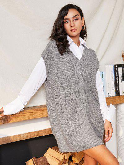 V Neck Cable Knit Oversized Vest Sweater - Gray