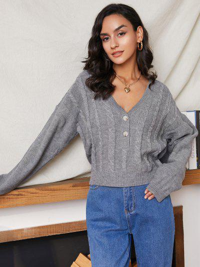Cable Knit Half Placket Drop Shoulder Sweater - Gray L